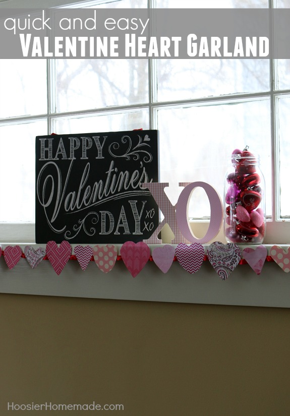 Valentine Heart Garland - with just 2 supplies you can make this adorable Valentine's Day Craft in minutes! Pin to your Valentine's Day Board!