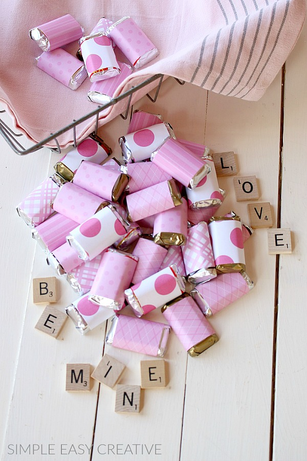 Mini Candy Bars wrapped with Scrapbook Paper