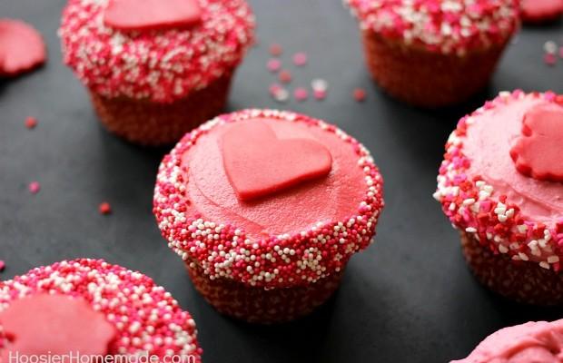 Valentine's Day Cupcakes :: Vanilla Cupcake Recipe :: HoosierHomemade.com