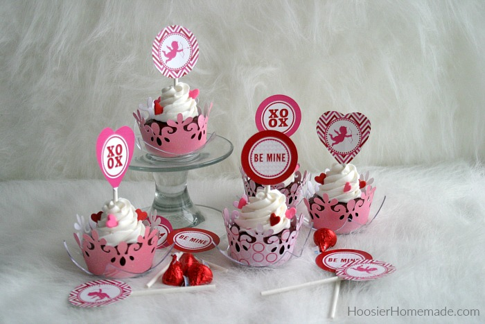 Valentine's Day Cupcakes with Printable Toppers