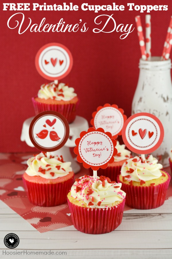 Grab your FREE Valentine's Day Cupcake Toppers to add LOVE to your cupcakes! These Valentine's Day Printables are adorable! Perfect for Valentine's Day Parties, Cupcakes for friends or neighbors, for your Sweetie and more!