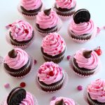 Chocolate Cupcakes with Strawberry Frosting for Valentine's Day Cupcakes