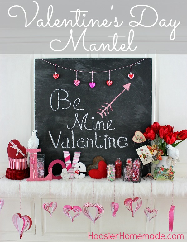 Valentine's Day Mantel on HoosierHomemade.com
