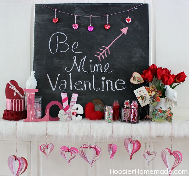 Valentine's Day Mantel Decorations