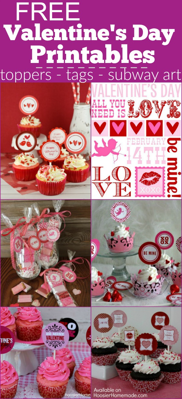 Adorable FREE Valentine's Day Printables - cupcake toppers, tags, party printables, subway art and more! Grab your FREE Printables today!