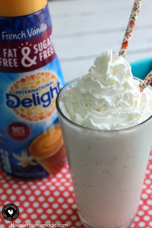 Vanilla Bean Frappuccino - enjoy the creamy goodness and make your own at home for less money and less calories! Pin to your Recipe Board!