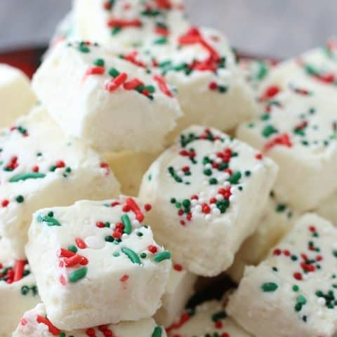 Vanilla Fudge Recipe with red and green sprinkles