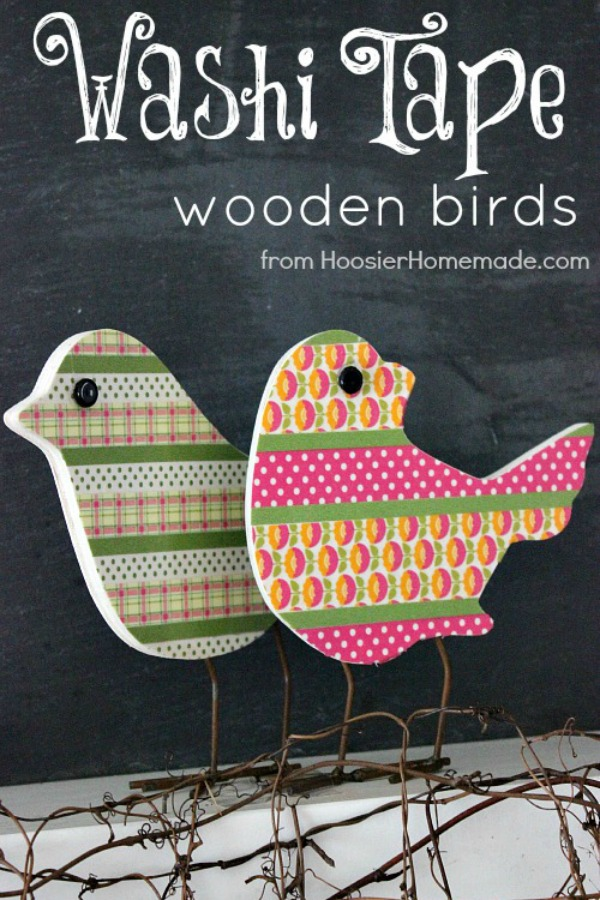 With just a few simple supplies, you can make these adorable one-of-a-kind Spring Decoration. Switch the colors to match your own on these Washi Tape Wooden Birds! Pin to your Crafts Board!