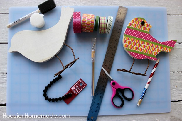 Washi Tape Wooden Birds :: Spring Craft on HoosierHomemade.com