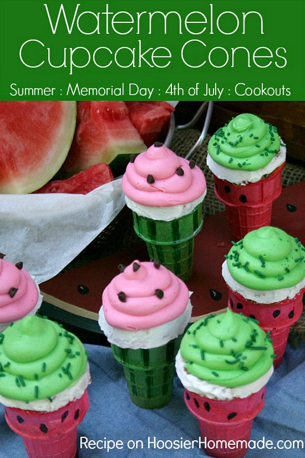 Watermelon Cupcake Cones | Watermelon flavored Cupcakes baked right in the Ice Cream Cones, makes a fun treat for Summer time!