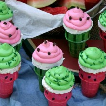 Watermelon Cupcake Cones :: Recipe on HoosierHomemade.com