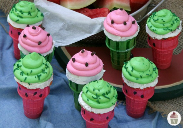 Watermelon Cupcakes Baked in Ice Cream Cones on Hoosier Homemade