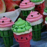 Watermelon Cupcake Cones