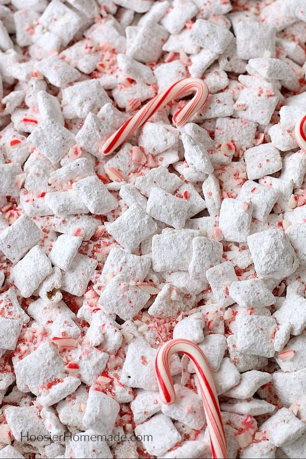 White Chocolate Peppermint Chex Mix in Pan