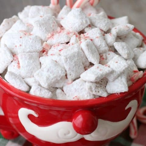 White Chocolate Peppermint Chex Mix in Santa Mug