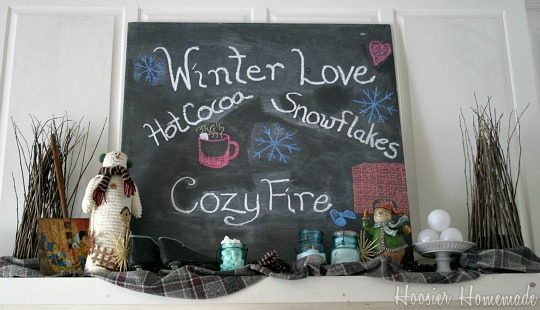 Winter Mantel | HoosierHomemade.com
