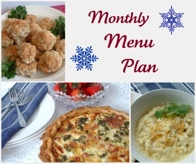 Winter Monthly Menu Plan
