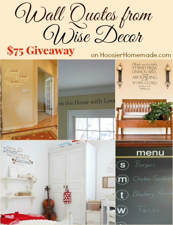 Wise Decor Wall Lettering Giveaway on HoosierHomemade.com