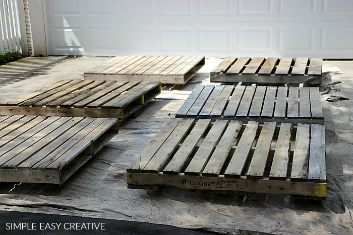 Preparing wood pallets for deck