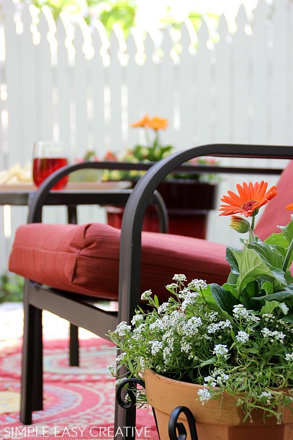 Flowers on Wood Pallet Deck