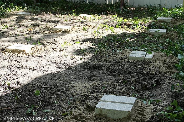 Concrete Blocks for Wood Pallet Deck