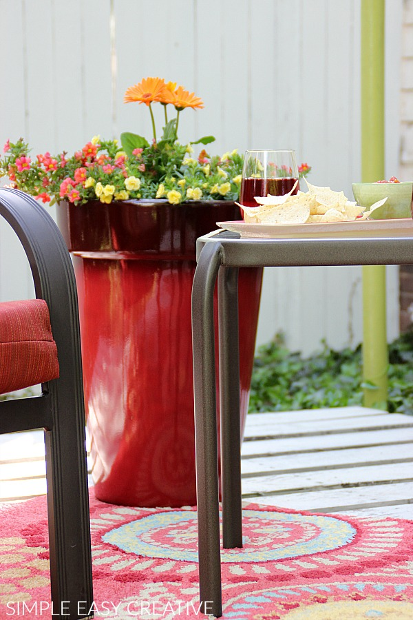 Flower Pot on Wood Pallet Deck