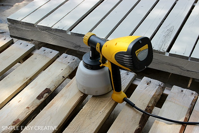 Spray Wood Pallets with stain or paint