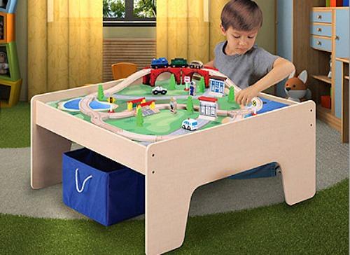 Wooden Activity Table with 45-Piece Train Set & Storage Bin