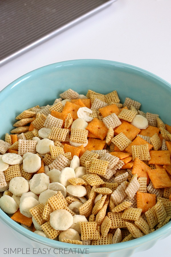 Chex Snack Mix in a bowl