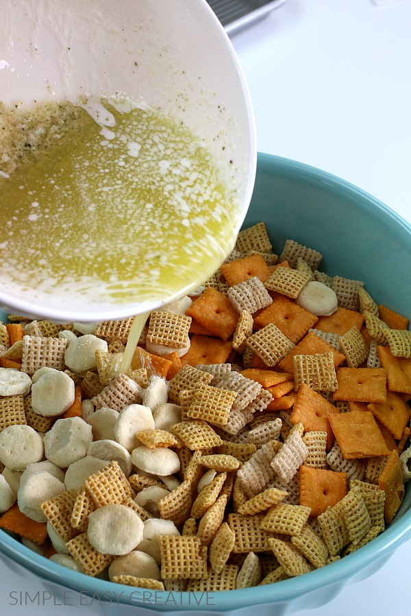 Mixing Ranch Chex Mix