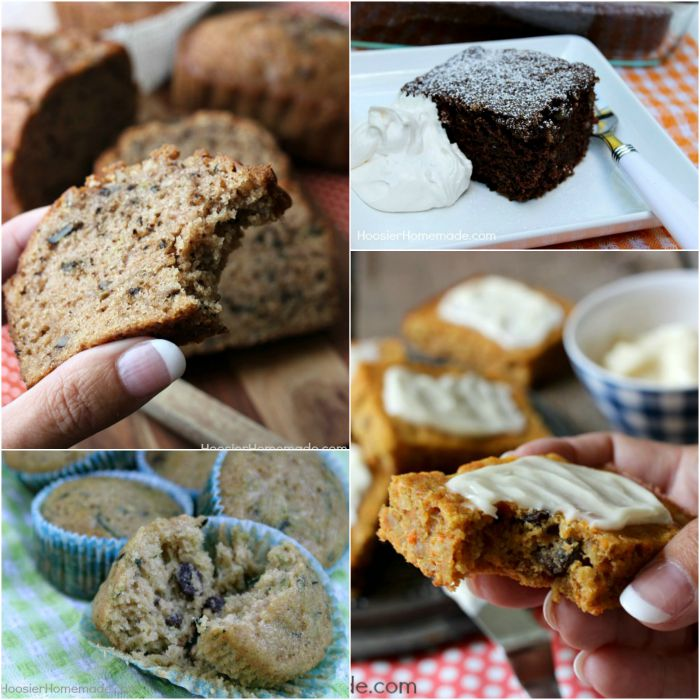 Try one of these Zucchini Recipes - The BEST ever Zucchini Bread, Chocolate Zucchini Cake, Zucchini Carrot Bars and Zucchini Raisin Muffins...YUM! Click on the Photo for the Recipes!