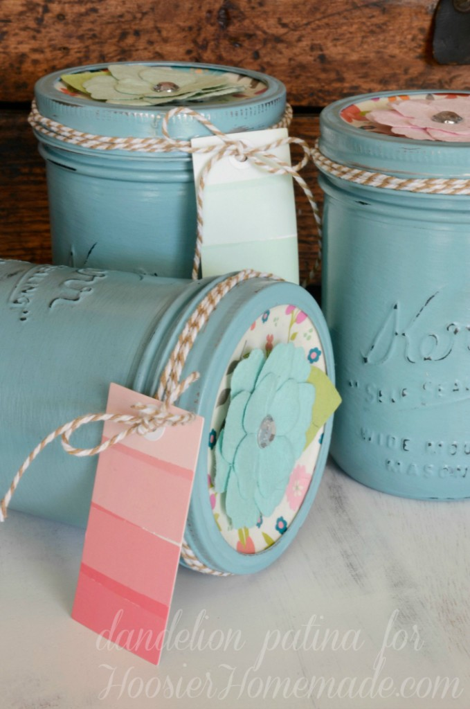 Perfect for Mother's Day, Teacher's Appreciation Gifts, Birthday Gifts and much more! These Embellished Chalk Paint Mason Jars are easy to make and take just a few supplies! Be sure to save them by pinning to your Craft Board!