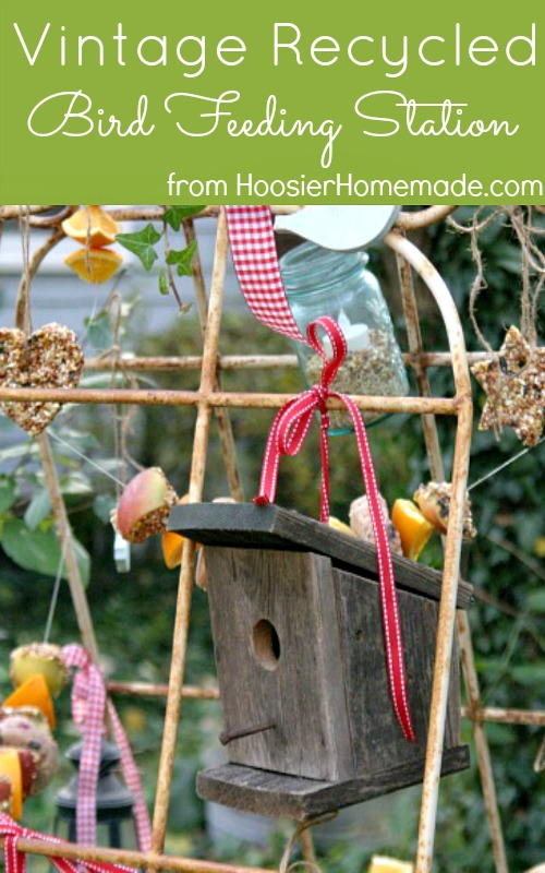 Vintage Recycled Bird Feeding Station :: HoosierHomemade.com