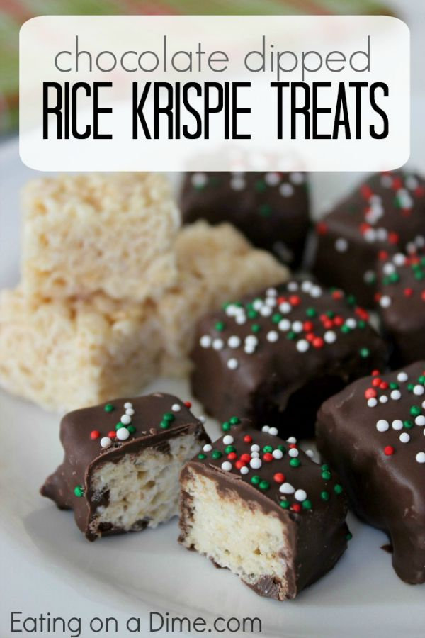Perfect for your Christmas cookie exchange trays, Holiday Parties and more! These Chocolate Dipped Rice Krispie Treats takes a traditional treat to a new level! Visit our 100 Days of Homemade Holiday Inspiration for more recipes, decorating ideas, crafts, homemade gift ideas and much more!