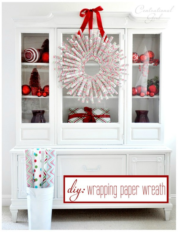 Just a few simple supplies is all you need to create this fun Wrapping Paper Wreath for your Christmas Decorating! Visit our 100 Days of Homemade Holiday Inspiration for more recipes, decorating ideas, crafts, homemade gift ideas and much more!