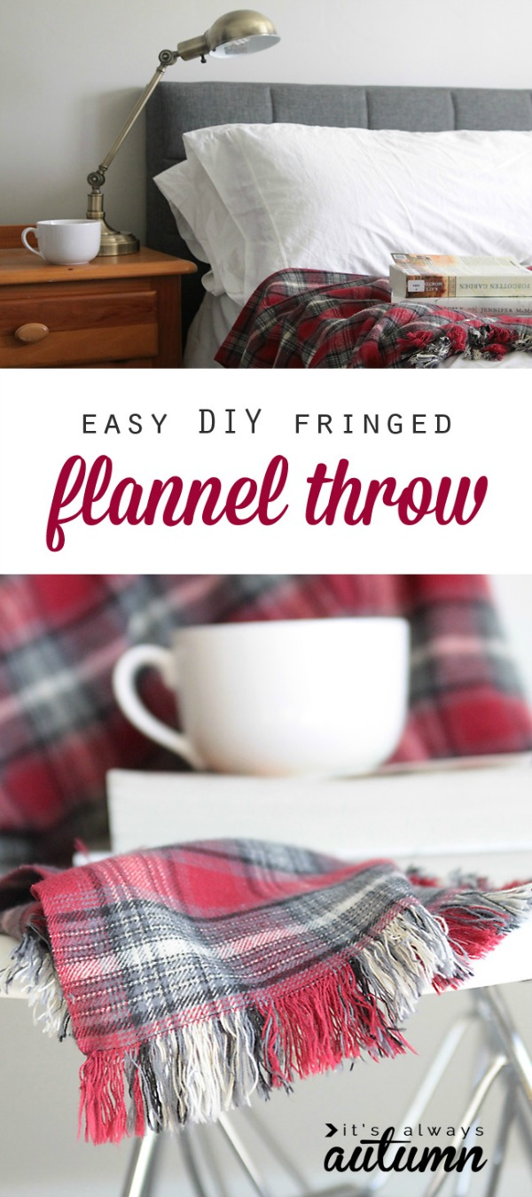 This DIY simple flannel blanket is the perfect handmade Christmas gift! It's easy to make too! Visit our 100 Days of Homemade Holiday Inspiration for more recipes, decorating ideas, crafts, homemade gift ideas and much more!
