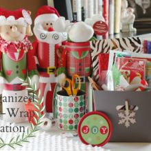 Gift Wrapping Station: 100 Days of Homemade Holiday Inspiration on HoosierHomemade.com