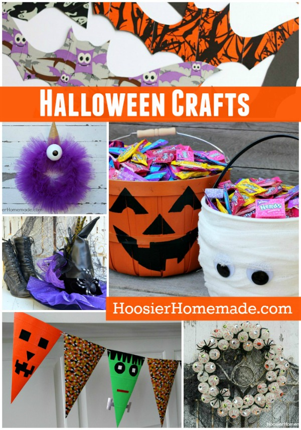 Fun and EASY to make Halloween Crafts - Halloween Wreaths, Banner, Wtiches Hat and more! Everything you need for your Halloween Party!