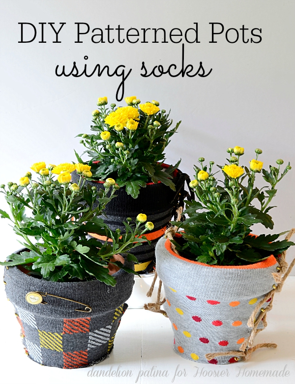 WOW WOW WOW! This DIY project is an incredible use of materials. Decorating made easy with socks is a super fun way to decorate your plant pots! Tutorial by Dandelion Patina for Hoosier Homemade