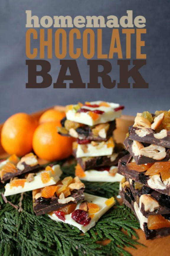 Delicious Homemade Chocolate Bark with dried fruit and nuts! Perfect for your Christmas gift giving! Pin to your Christmas Board!