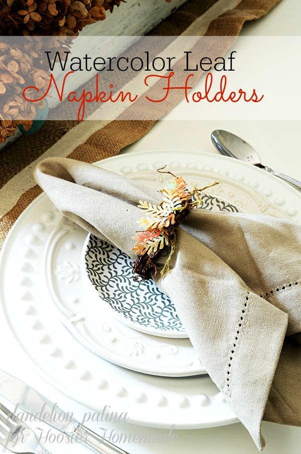 hoosier homemade DIY watercolor leaf napkin holder grapevine wreath