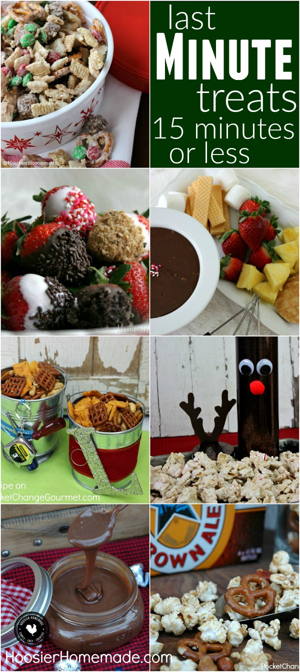 If you are anything like me, you are counting the hours left in the day! Christmas is just about here, and I know your time is short, so I have put together 7 Last Minute Christmas Treats that you can whip up in less than 15 minutes! Still need a gift for the neighbors or a hostess gift? These make perfect gifts, as well!