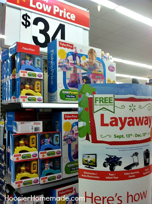 Sept. 12, update: Wal-Mart layaway started on Aug. 31 this year. The rules remain largely the same: No opening fee, pay 10% of $10 down (whichever is greater), and hold at least $50 worth of purchases from categories such as electronics (but no contract-required phones), toys, small appliances, select sporting goods, and jewelry.
