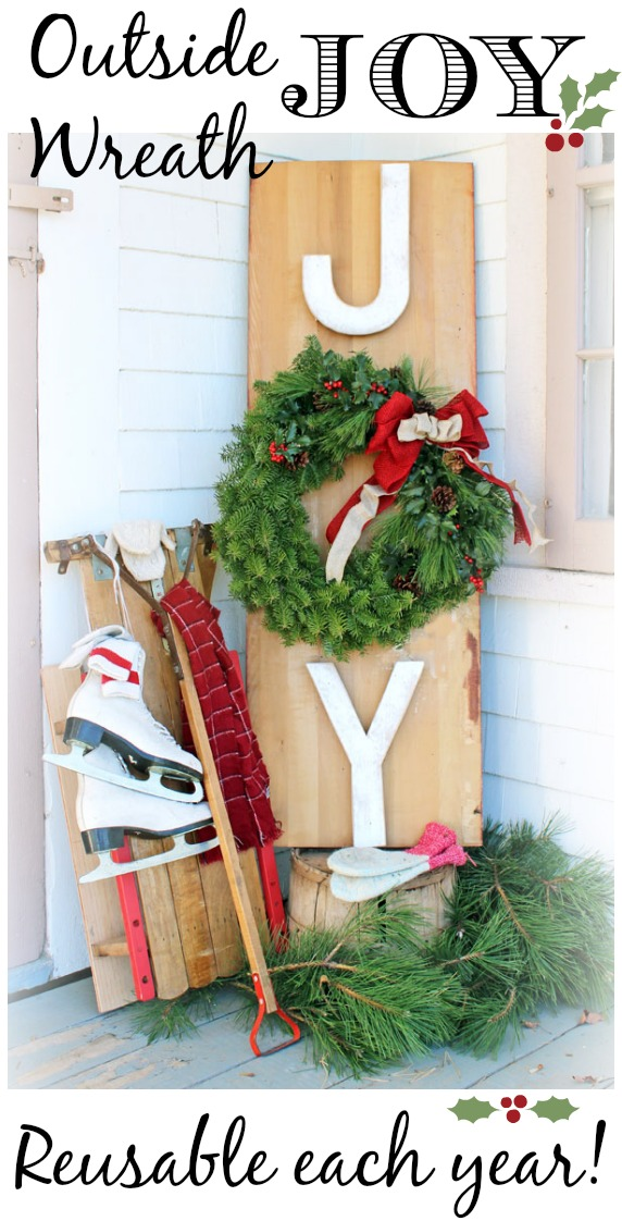 Dress up your Front Porch for the Holidays with this JOY Wreath Sign! Visit our 100 Days of Homemade Holiday Inspiration for more recipes, decorating ideas, crafts, homemade gift ideas and much more!