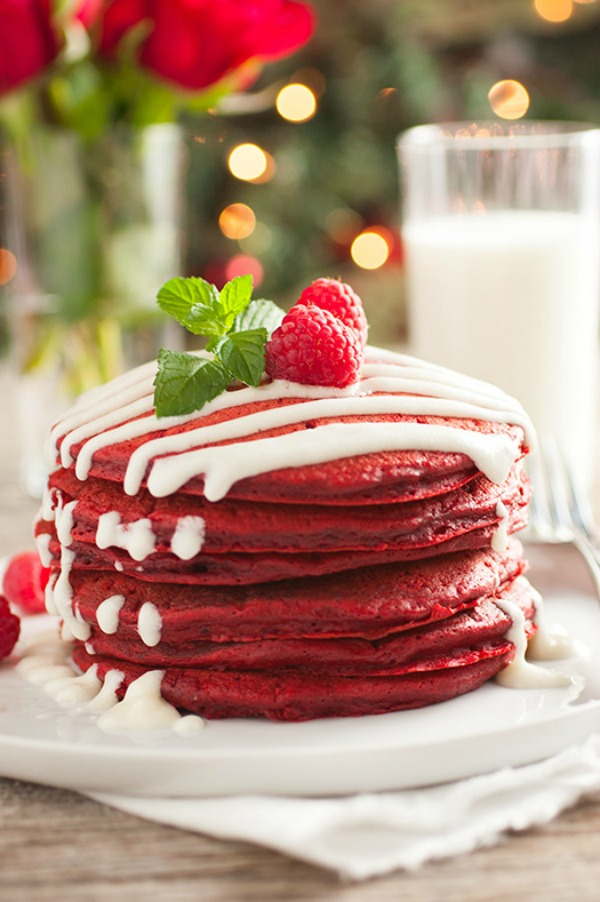 The perfect holiday breakfast, these Red Velvet Pancakes with Cream Cheese Glaze are sure to put a smile on your face! Visit our 100 Days of Homemade Holiday Inspiration for more recipes, decorating ideas, crafts, homemade gift ideas and much more!