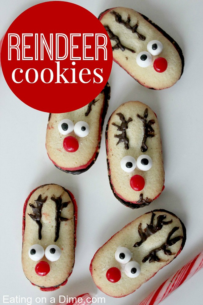 You are ONLY 3 ingredients away from these adorable and delicious Reindeer Cookies! Grab the kids! Visit our 100 Days of Homemade Holiday Inspiration for more recipes, decorating ideas, crafts, homemade gift ideas and much more!