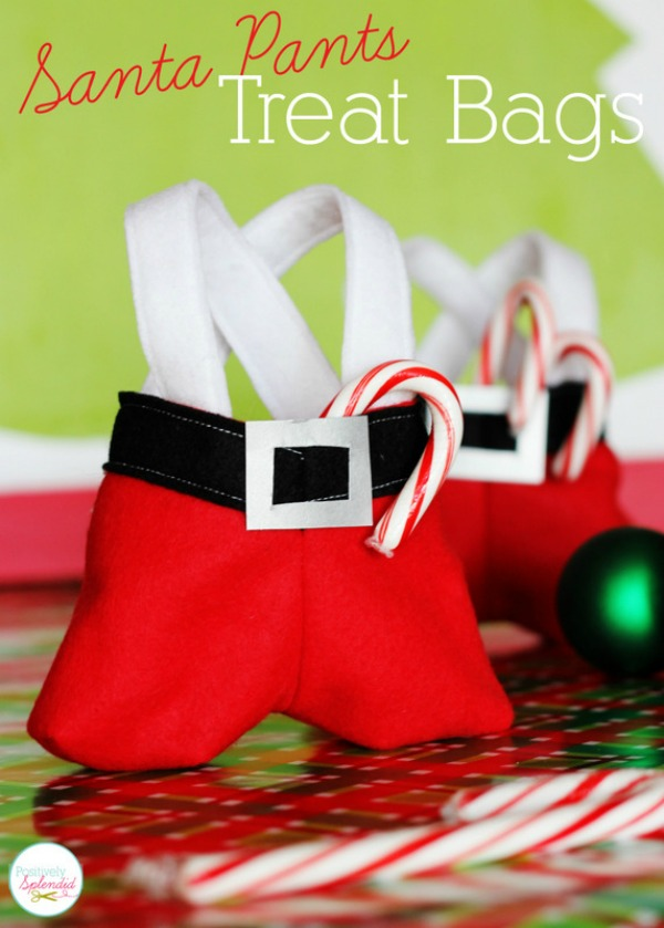 These darling Santa Pants Treat Bags make a great gift for neighbors, teachers, co-workers, and more! Visit our 100 Days of Homemade Holiday Inspiration for more recipes, decorating ideas, crafts, homemade gift ideas and much more!