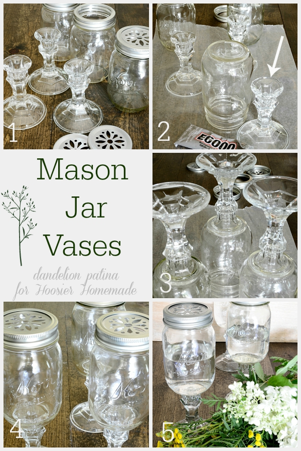 Create your own mason jar vases with 5 simple steps. These mason jar vases add farmhouse style to your space and do not break the budget. Create yours today! Project via Dandelion Patina for Hoosier Homemade