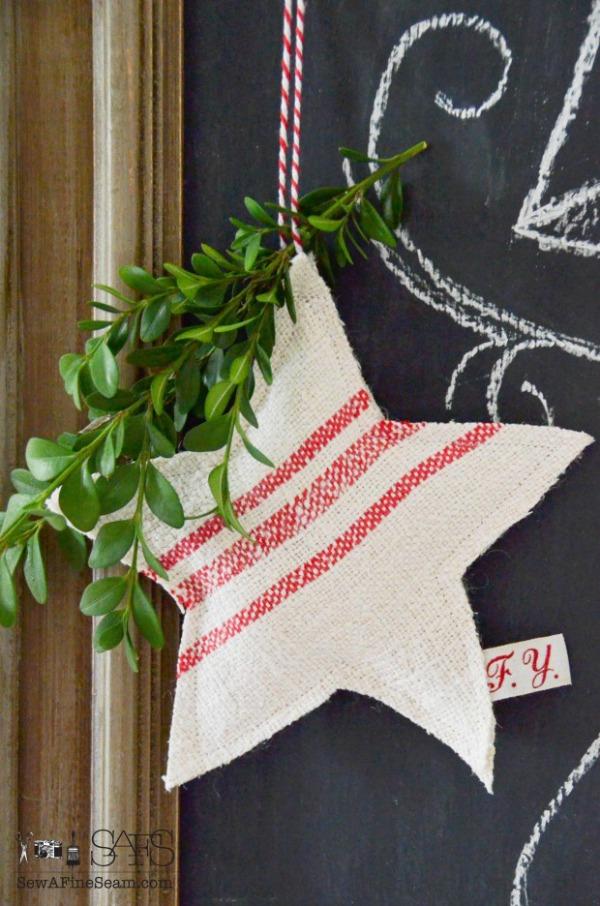 Grain Sack Star Ornament