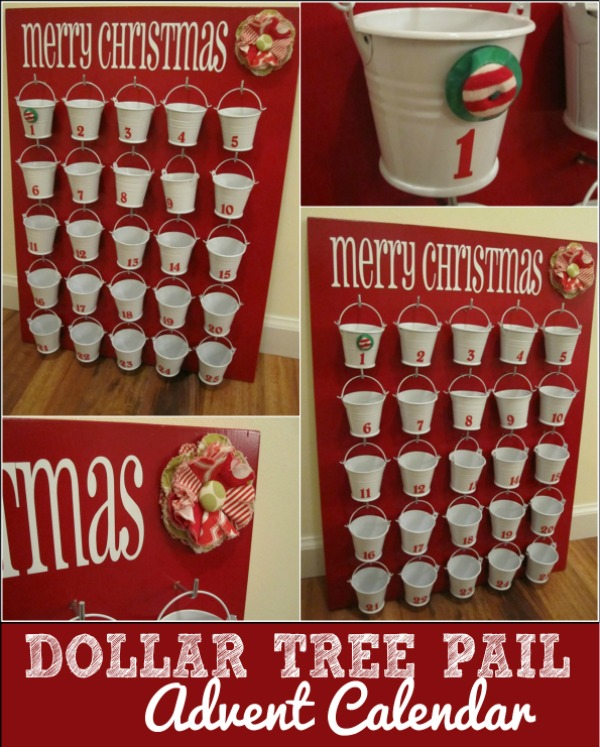 Make this cute Countdown to Christmas Calendar with items from the Dollar Store! Visit our 100 Days of Homemade Holiday Inspiration for more recipes, decorating ideas, crafts, homemade gift ideas and much more!